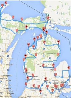 'Pure Michigan' road trip hits 43 of the state's best spots, start planning your trip It's a map that makes you dream of summer days and green Michigan landscape sliding by outside your driver's side window. Lac Michigan, State Of Michigan, Mackinac Island Michigan, Traverse City Michigan, New Haven Michigan, Indian River Michigan, Torch Lake Michigan, Munising Michigan, Petoskey Michigan