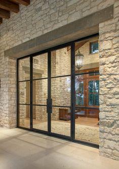 Glass doors entrance that match glass walls. Door Design, Exterior Design, House Design, Entrance Doors, Patio Doors, Carport Modern, Exterior Doors, Architecture Details, Modern Architecture