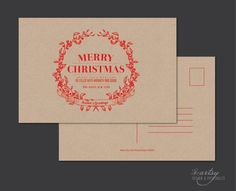 CHRISTMAS HOLIDAY  Post Card - Rustic Typography Greeting Card - DIY Printable. $15.00, via Etsy.