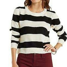 Cropped Striped Sweater Black and ivory cropped rugby striped sweater. Charlotte Russe Sweaters