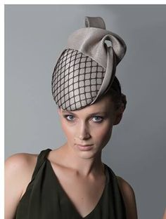 Headpiece made from vintage straw cloth. Louise Macdonald Milliner. www.millinery.com.au