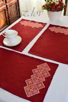 Natural Linen Placemat and Linen tablecloth with Embroidery