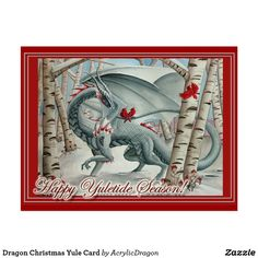 "Dragon Christmas Yule Card Yuletide cards featuring the original watercolor ""Lady of the Forest"" by Carla Morrow"