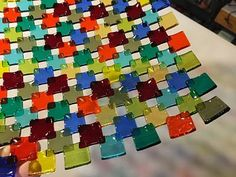 Brilliant Rainbow Platter = Notes state: Colorful squares of transparent glass fuse and transform into a brilliant rainbow platter … easy and awesome, step-by-step with the Glasshoppa. Details and resources on the Glasshoppa Blog (http://glasshoppa.blogspot.com)