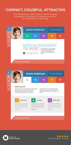 Gridly Personal vCard & Portfolio WordPress #webtemplate - See more Template at Stylendesigns.com!