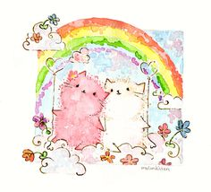 hello this melonkitten is for =LitsteningMusic she asks for a pink and white fluffy melonkitten. being on a cloud, looking at the rainbow, holding balloons and flowers around have a nice day Meli~