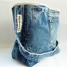 Upcycled Denim Tote Bag by EmmeliWorks on Etsy, $42.00