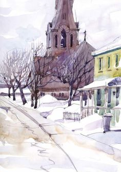 Urban sketching inspiration + Can you add vodka (as an antifreeze) to watercolor? Artwork by Shari Blaukopf | ArtistsNetwork.com #UrbanSketching #UrbanSketchers #watercolor