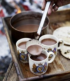 no better place to enjoy hot chocolate than in the great outdoors