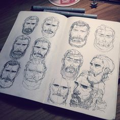 Some face studies for #thefallcomic I did last night. #sketches in my #Moleskine #sketchbook #study #father