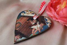 Valentines day gift Wooden heart Hanging decoration Girlfriend present Wedding gift Love ornament Decoupage heart Unique cheap valentine