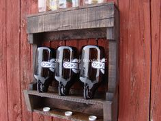 Growler drying rack recycled pallet by TheGoAwayWoodshop on Etsy, $65.00