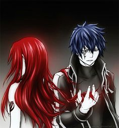 This picture is cool. It's like Jellal is still under the dark power and Erza's hair is giving him a glimpse of light.