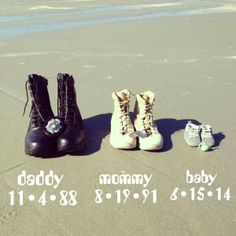 Baby announcement with boots... Love it but for Mommy I'd swap out the boots for heels and an apple since she's a teacher and all.. :D