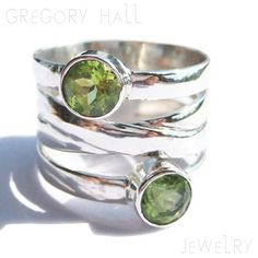 Sterling Silver 925 Green Peridot Gemstone Wedding Band by Gregory Hall Jewelry