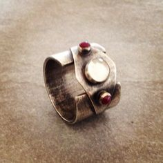Ruby quartz sterling silver power ring