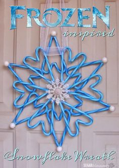 This Frozen-inspired candy cane wreath is a simple craft even kids can make! : This Frozen-inspired candy cane wreath is a simple craft even kids can make! Anyone that knows me will be shocked to see this post. Winter Christmas, Christmas Holidays, Christmas Decorations, Christmas Ornaments, Frozen Christmas, Candy Cane Decorations, Christmas Wreaths, Christmas Parties, Candy Cane Crafts