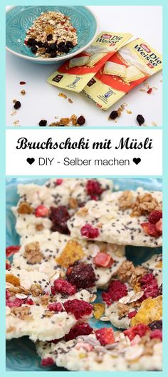 Gesunde Schokolade mit Müsli! So könnt Ihr Euch Schokolade ganz einfach selbst machen. Zum Rezept: