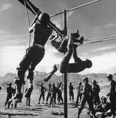 Not published in LIFE. Soldiers on an obstacle course at Fort Huachuca, Ariz., 1943