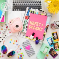 If you're bold and fun... If you're always on-trend and super outgoing, let it come through with graphic accessories that pop with color. And even though you have tons of photos on your phone, keep an instant camera on hand to have physical memories that double as decor.