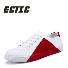 68462c7dcd ECTIC Új 2018 fiatal felnőtt alkalmi cipő patchwork Lace Up Férfi cipők cipő  hallgató Komfortos vászon cipő CC-040