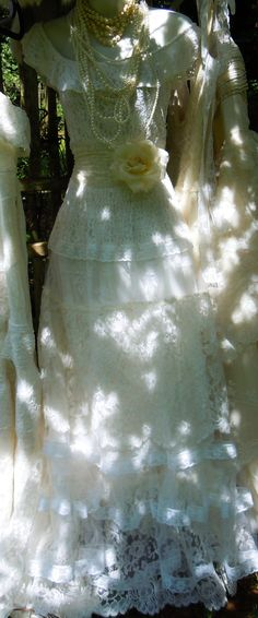 Lace wedding dress ivory tiered tulle off by vintageopulence