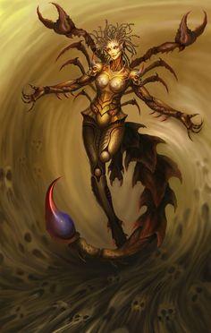 The Skorpion is a species of demon living in Otrazheniye. Dark Fantasy Art, Fantasy Women, Fantasy Artwork, Female Monster, Fantasy Monster, Fantasy Creatures, Mythical Creatures, Sibylla Merian, Creation Art