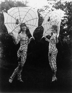 Figure hugging, instantly eye-catching spiderweb costumes, 1927. #vintage #Halloween #costumes #1920s