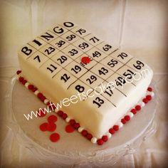 Bingo card birthday cake