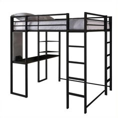 DHP Abode Metal Full Loft Bed (¥50,245) ❤ liked on Polyvore featuring home, furniture, beds, black, metal corner shelf, black modern bed, corner ladder shelf, black bunk beds and black metal bed