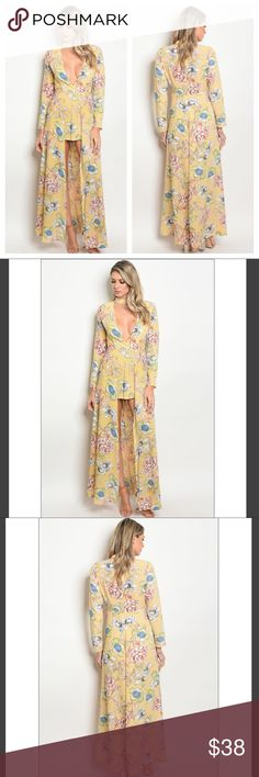 Womens Vintage Choker V Neck Romper Jumpsuit S M L This is a super cute women's long sleeve vintage floral romper jumpsuit maxi dress! Has a sexy low cut V with a mock choker neck.   Jumpsuits are such a popular thing these days and I can see why! This outfit can be worn for any occasion (formal/casual.. you name it)    Sizes available: S M L   Colors: Yellow Multi Floral Fabric Content:  65% COTTON 35% POLYESTER Dresses Long Sleeve