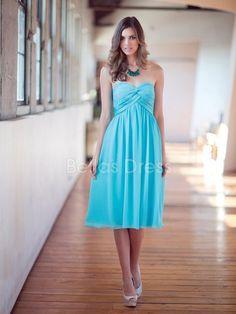 Sleeveless Chiffon A line Sweetheart Knee Length Bridesmaid Gowns