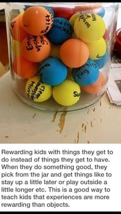 I think this is used for kid chores.but I think it would be even better as a reward tool.for good behavior or ect. Get children to list favorite activities on a ball, then they pull one out and get to have a fun activity! Freetime Activities, Kids Rewards, Behavior Rewards, Behavior Charts, Future Classroom, Classroom Jobs, Classroom Rewards, Class Incentives, Classroom Setting