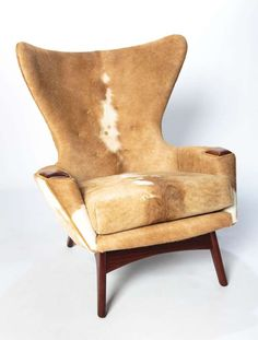 Adrian Pearsall; Wood and Cowhide Wing Lounge Chair, 1960s.