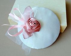 fascinator of white satin