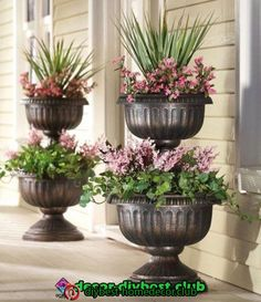 Tiered Antique Finish Urn Planter Eichenbaum this is what you need by the front door. Tiered Planter, Urn Planters, Outdoor Planters, Flower Planters, Outdoor Gardens, Flower Pots, Planter Garden, Planter Ideas, Cheap Planters