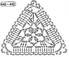 Gallery.ru / Фото #6 - Мотивы - grinalla Crochet Triangle Pattern, Crochet Thread Patterns, Crochet Symbols, Crochet Diagram, Crochet Chart, Filet Crochet, Crochet Motif, Crochet Doilies, Crochet Flowers