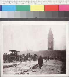 Refugees headed to the Ferry Building, San Francisco, California, 1906 earthquake and fire.