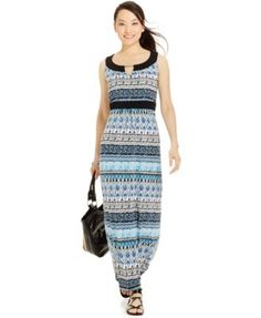 Ny Collection Petite Printed Empire-Waist Maxi Dress