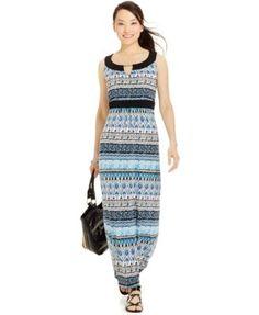 Ny Collection Petite Printed Empire-Waist Maxi Dress