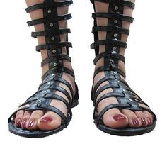 €11.75 Ladies Long Calf Below Knee High Leg Flat Womens Strappy Gladiator Sandals Shoes (BLACK) (37)