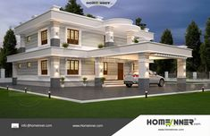 Searching for 48 Lakh 4 Bedroom 4 Bath contemporary Trivandrum villa ? then here is a modern concept featuring double story luxury villa at an affordable budget cost . This villa have front car porch , modern sitout , attractive guest living and more . Classic House Exterior, Modern Exterior House Designs, Classic House Design, Bungalow House Design, Dream House Exterior, Cool House Designs, 4 Bedroom House Designs, House Outside Design, House Front Design