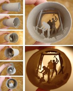 I love toilet paper rolls. Yes, toilet paper rolls are definitely under appreciated. Each toilet paper roll is the same - they are cylindrical in shape, short and made of thin cardboard. Toilet Paper Roll Art, Rolled Paper Art, Fun Crafts, Crafts For Kids, Paper Crafts, Paper Cutting, Origami, Shadow Box, Art Lessons