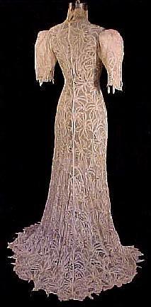 (Back) c. 1900 Ecru All Battenburg Lace Wedding Gown