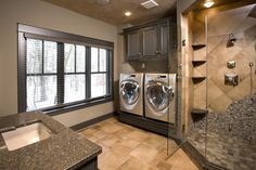 Minneapolis Laundry Room Design, Pictures, Remodel, Decor and Ideas - page 3 - guest suite Laundry Bathroom Combo, Basement Laundry, Laundry Room Design, Basement Bathroom, Small Bathroom, Master Bathrooms, Minneapolis, Utility Room Designs, Master Bath Shower