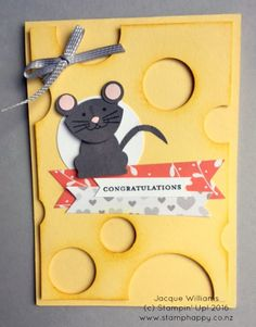 Happy Wednesday!  Before I run off to teach a class tonight, I wanted to share with you this cute card inspired by my friend in Idaho.  Make a cute mouse using the Fox Builder Punch (ears using the Owl Builder Punch.