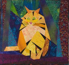 Big Yellow Cat, art quilt, by Priscilla Read
