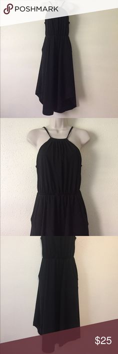 Patagonia Black Halter Hugh Low Dress Black Halter dress with keyhole tie in back. Built in chest support. 55% organic cotton 45% tencel. Gently worn. Dresses High Low