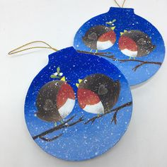 Hand painted Christmas decorations off to a new home!