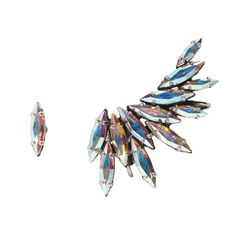 Iridescent Swarovski crystal Silver plated ear cuff.comes with a single stud.